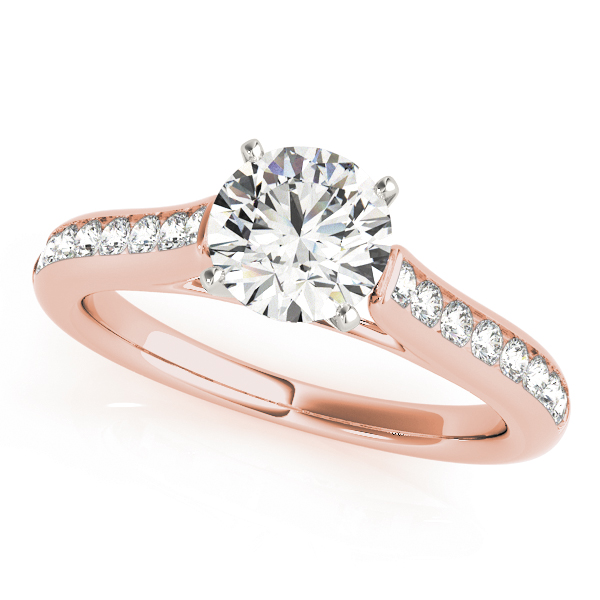 Classic Channel Set Cathedral Diamond Bridal Set in Rose Gold