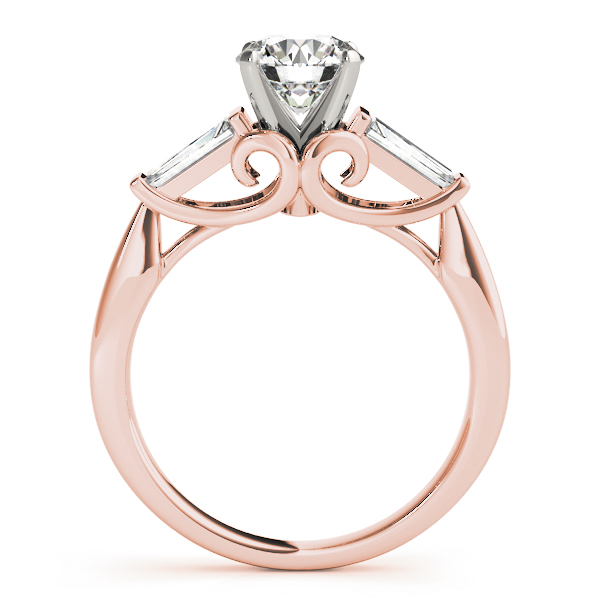 Baguette Cu Diamond Bridal Set with Swirl Filigree in Rose Gold
