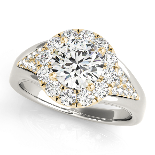 Triangle Cluster Halo Diamond Ring Yellow Gold