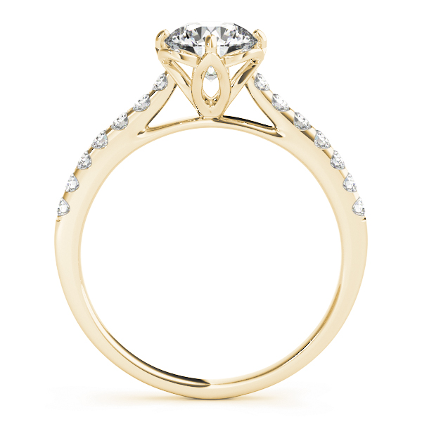Floral Cathedral Petite Engagement Ring in Yellow Gold
