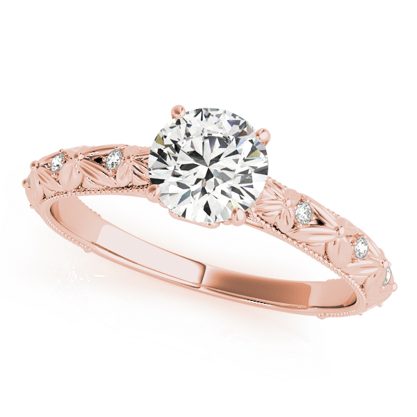 Knife Edge Bow Tie Diamond Cathedral Engagement Ring in Rose Gold