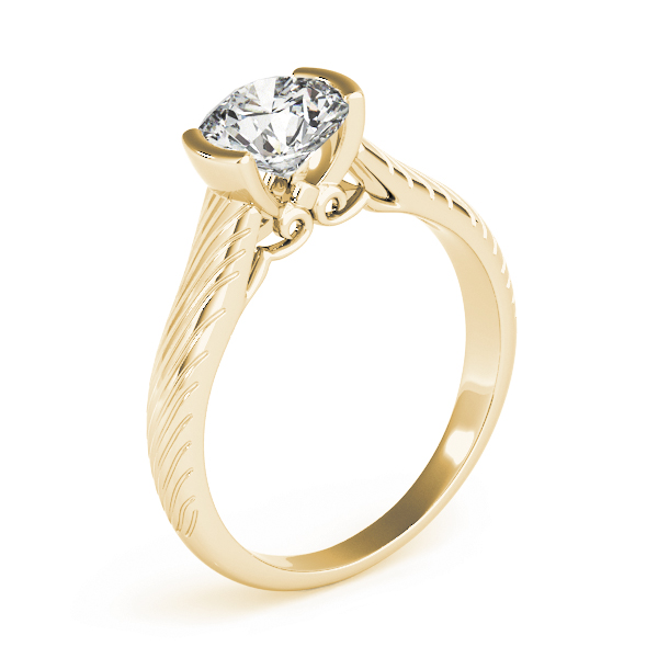 Patterned Bezel Engagement Ring Yellow Gold