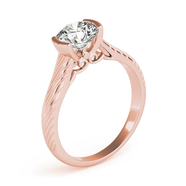Engraved Half Bezel Engagement Ring Rose Gold