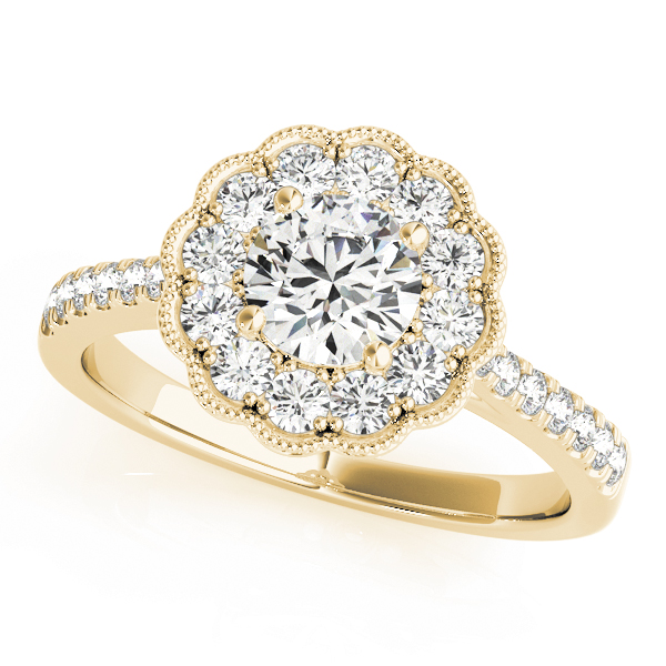 Floral Halo Diamond Engagement Ring in Yellow Gold