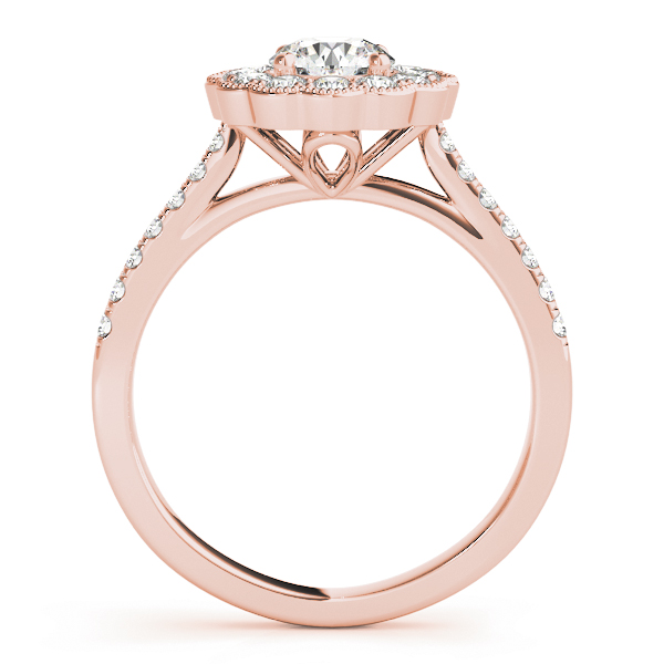 Floral Halo Diamond Engagement Ring in Rose Gold