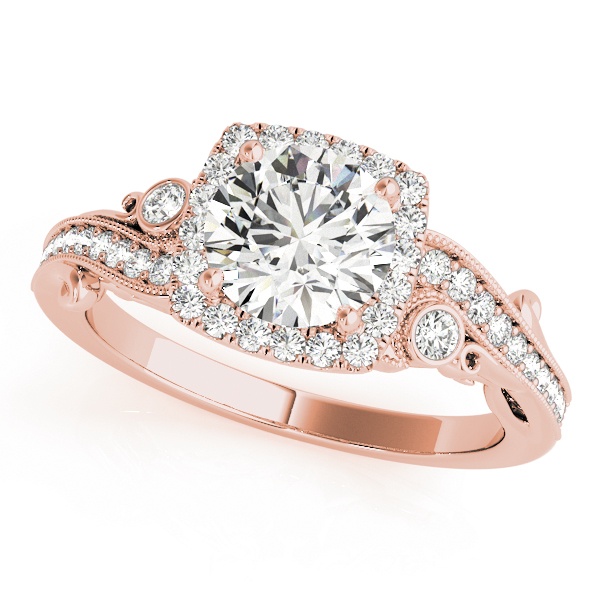 Square Halo Diamond Filigree Swirl Engagement Ring in Rose Gold