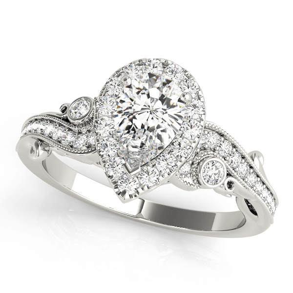 Pear Halo Diamond Filigree Swirl Engagement Ring