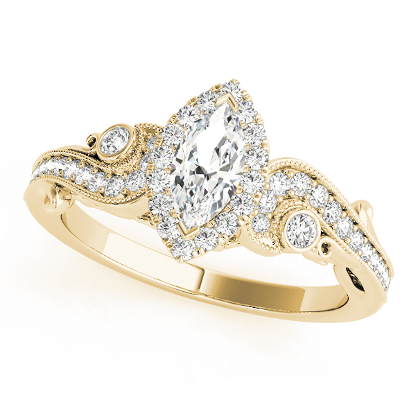 Marquise Halo Diamond Filigree Swirl Engagement Ring in Yellow Gold
