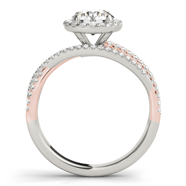 Mutli-Row Diamond Halo Engagement Ring in Rose & White Gold