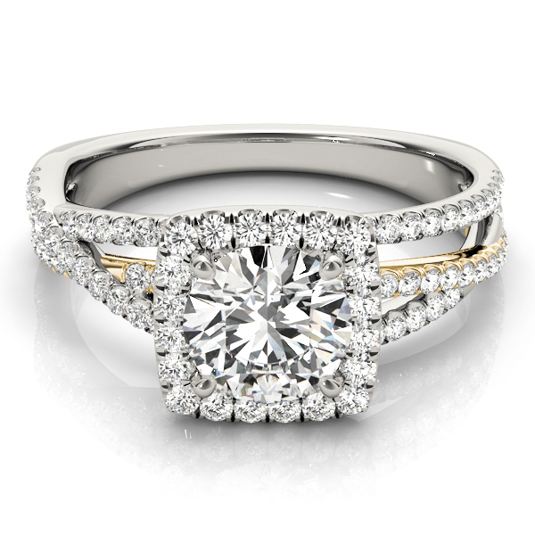 Mutli-Row Diamond Square Halo Engagement Ring in Yellow & White Gold
