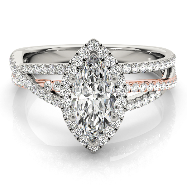 Mutli-Row Diamond Marquise Shape Halo Engagement Ring in Rose & White Gold