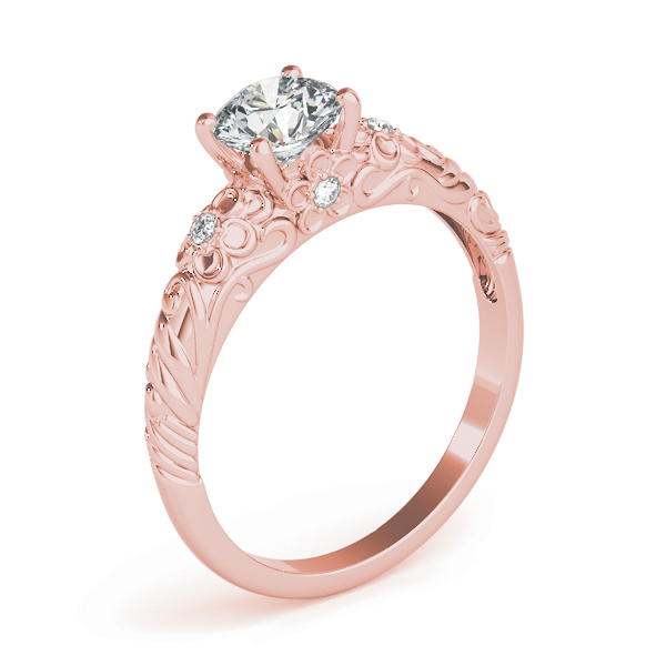 Floral Engraved Solitaire Engagement Ring Rose Gold