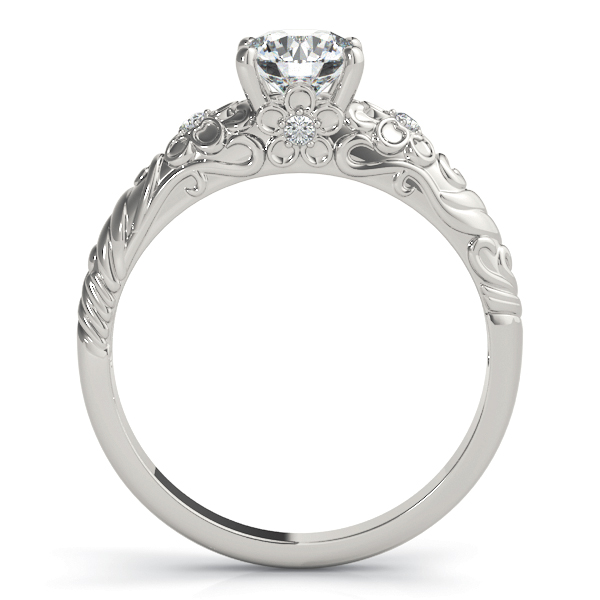 Floral Engraved Solitaire Engagement Ring