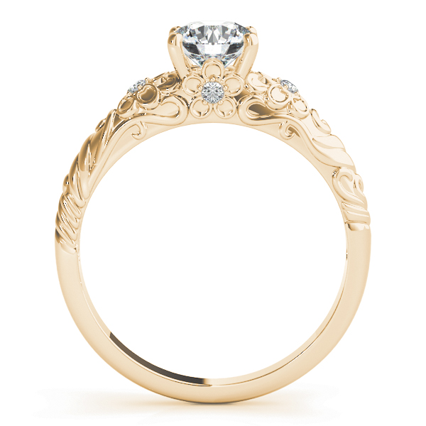 Floral Engraved Solitaire Engagement Ring Yellow Gold
