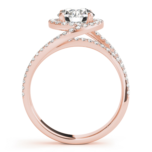 Swirl Diamond Halo Bridal Set Rose Gold