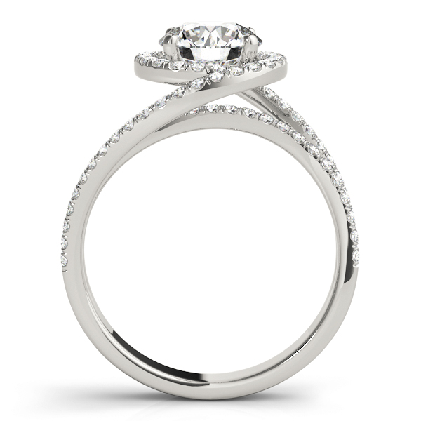 Swirl Round Diamond Halo Engagement Ring