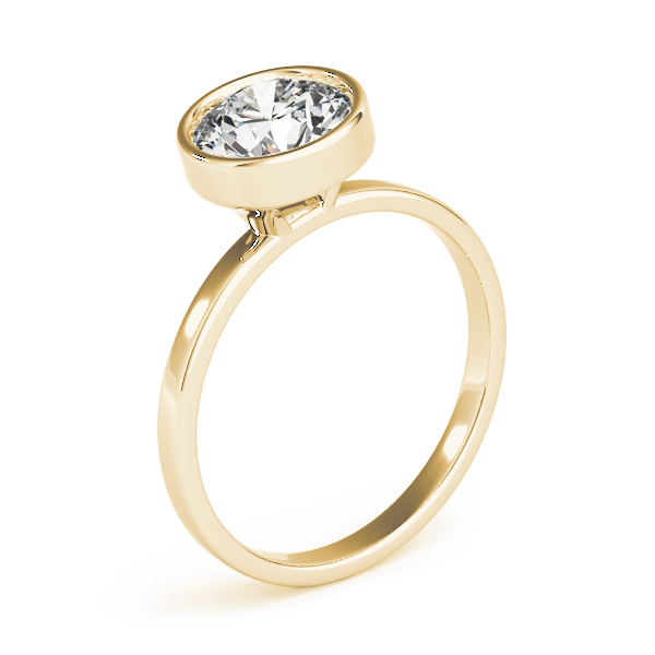 High Set Bezel Engagement Ring Yellow Gold