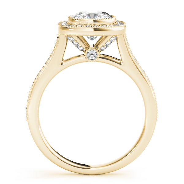 Cushion Halo Legacy Engagement Ring Yellow Gold