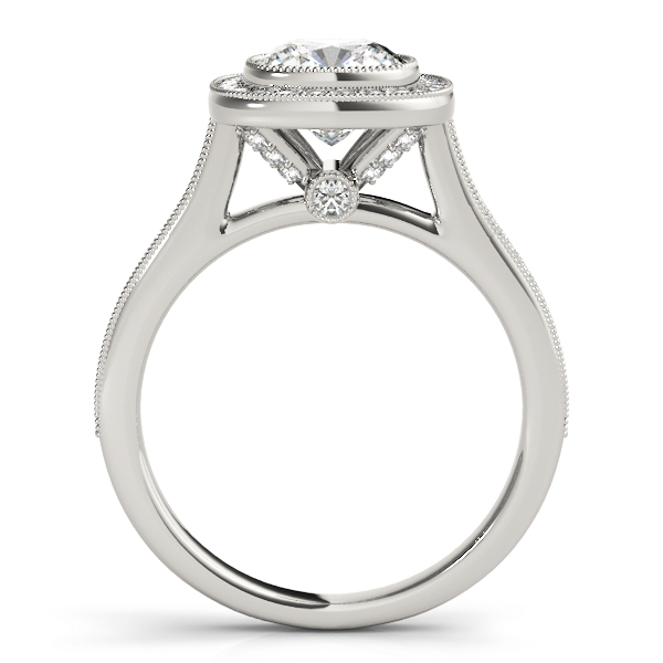 Cushion Diamond Bezel Cathedral Halo Engagement Ring 0.26 tcw. In 14K White Gold