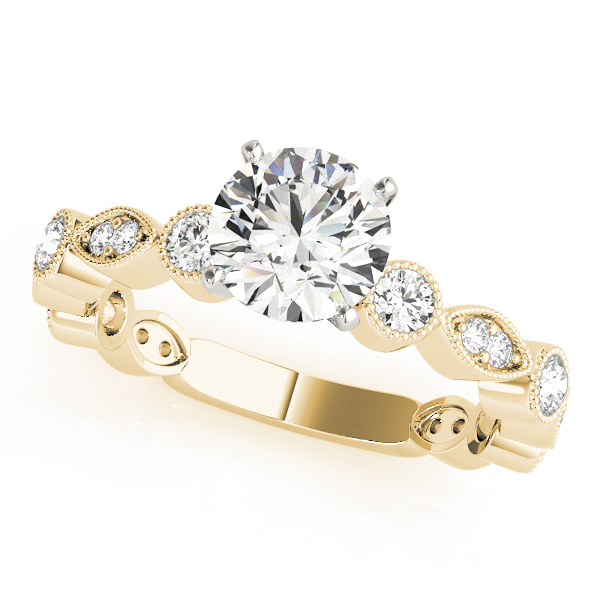 Petite Diamond Swing Engagement Ring in Yellow Gold