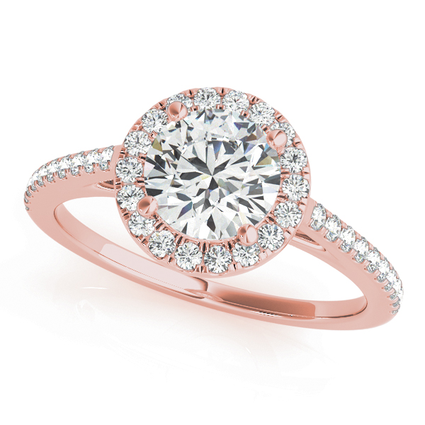 Classic Halo Cathedral Bridal Set Rose Gold