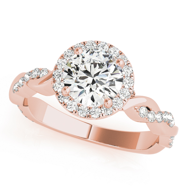 Halo Diamond Engagement Ring, Twisted Band in Rose Gold