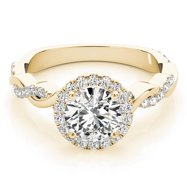 Halo Diamond Engagement Ring, Twisted Band in Yellow Gold