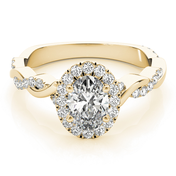 Oval Diamond Halo Engagement Ring, Twisted Band in Yellow Gold
