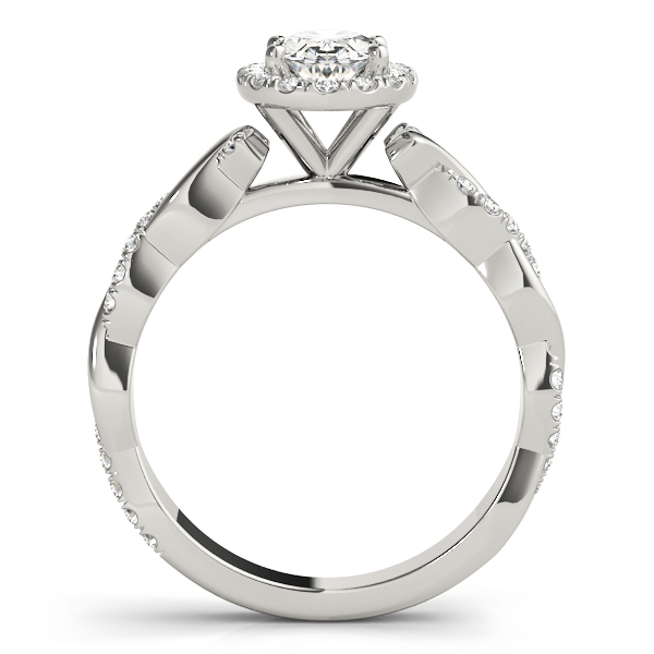 Oval Diamond Halo Engagement Ring, Twisted Band