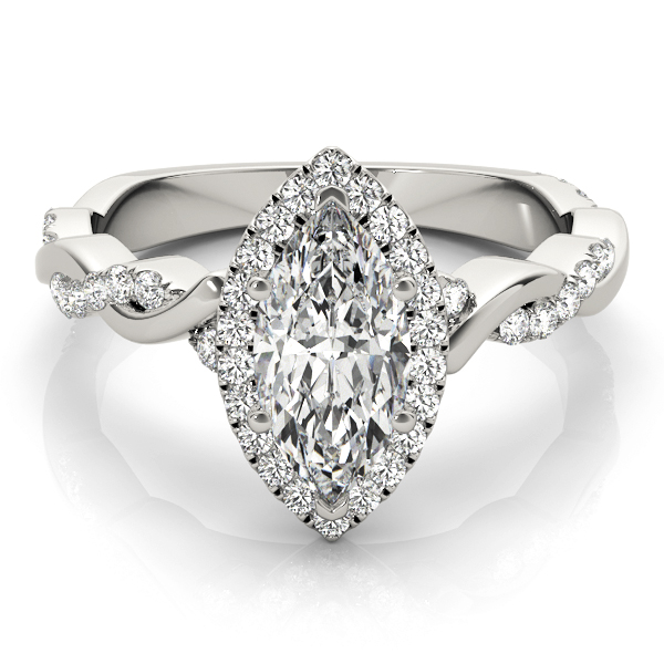 Marquise Diamond Halo Engagement Ring, Twisted Band