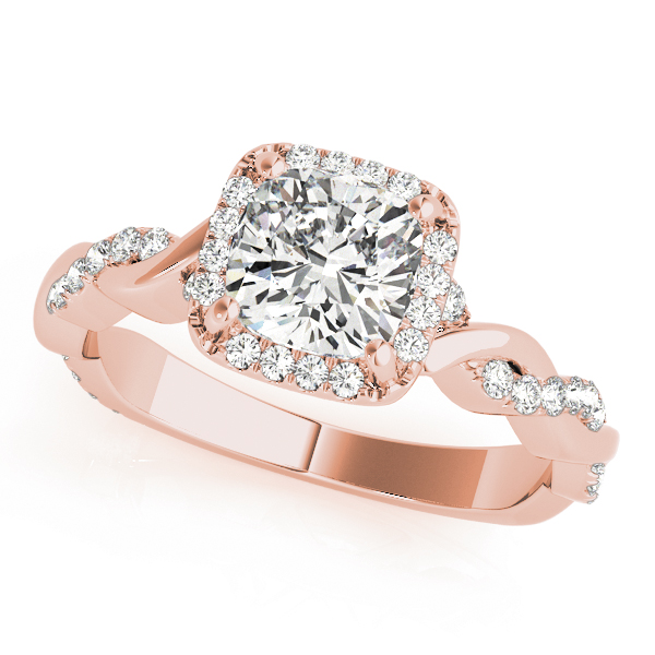 Cushion Diamond Halo Engagement Ring, Twisted Band in Rose Gold