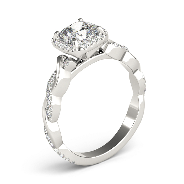 Cushion Diamond Halo Engagement Ring, Twisted Band