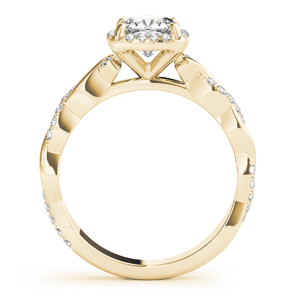 Cushion Diamond Halo Engagement Ring, Twisted Band Yellow Gold
