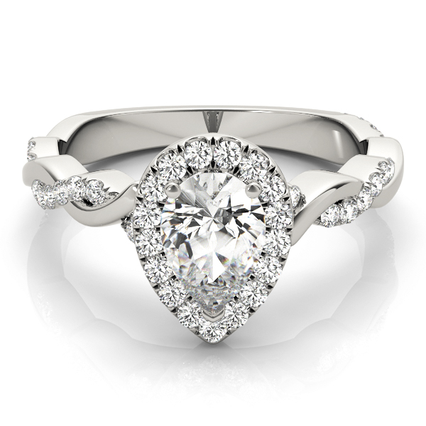 Pear Diamond Halo Engagement Ring, Twisted Band