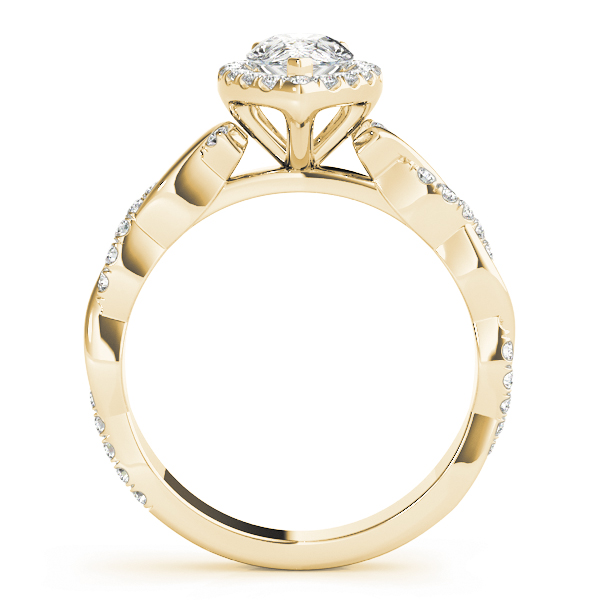Pear Diamond Halo Engagement Ring, Twisted Band Yellow Gold