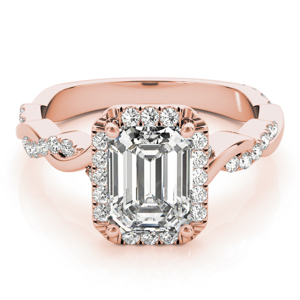 Emerald Cut Diamond Halo Engagement Ring, Twisted Band Rose Gold