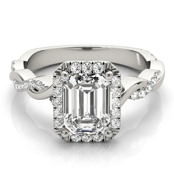 Emerald Cut Diamond Halo Engagement Ring, Twisted Band