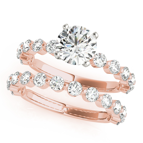 Mutual Prong Diamond Bridal Set Rose Gold