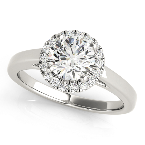 Round Halo Cathedral Engagement Ring