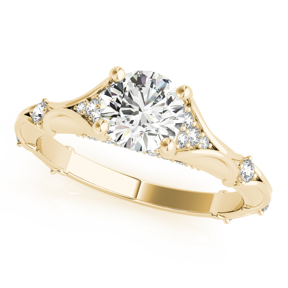 Bamboo Embossed Diamond Engagement Ring Yellow Gold