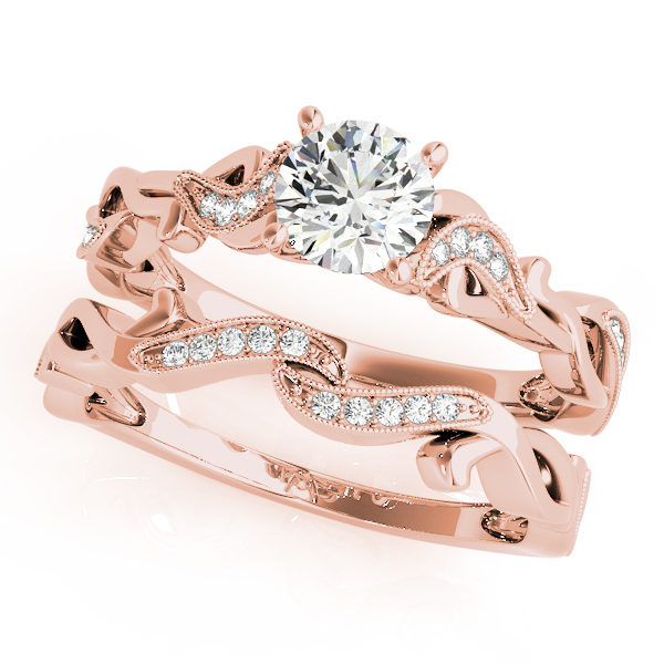 Petite  Diamond Infinity Bridal Set Rose Gold