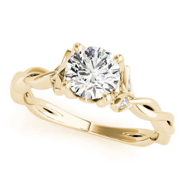 Floral Twisted Engagement Ring Yellow Gold