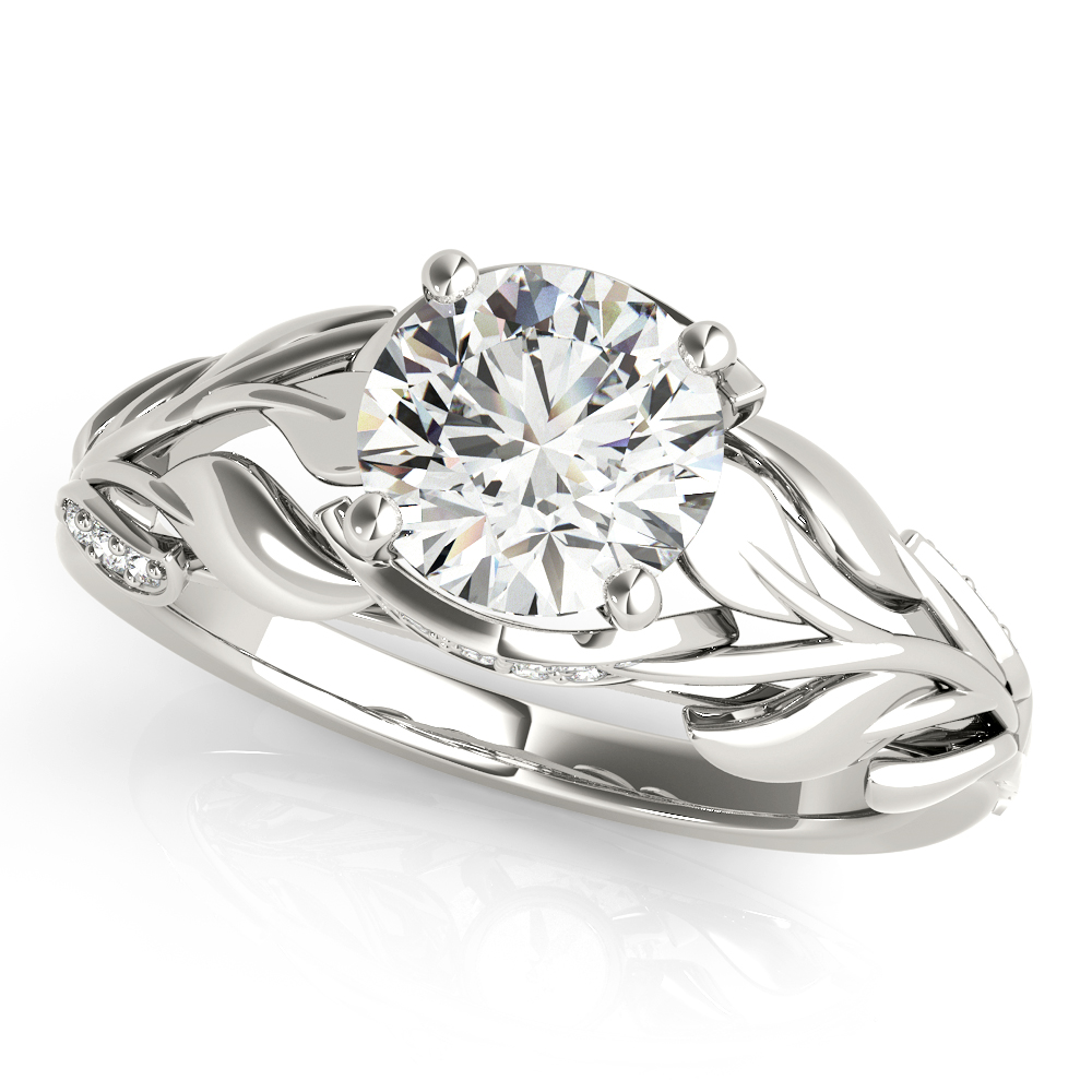 Floral Leaves Diamond Engagement Ring