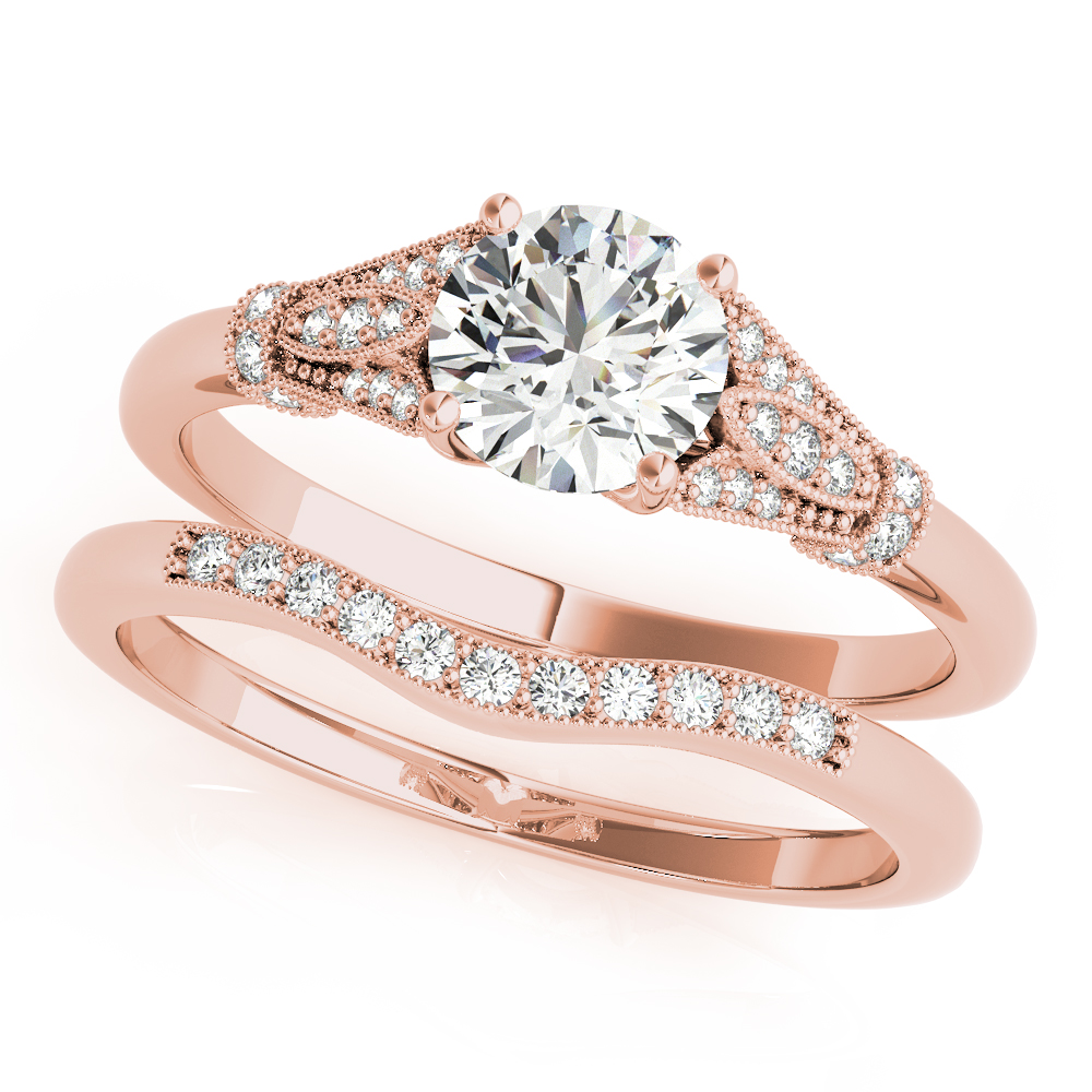 Cathedral Floral Bridal Set Rose Gold