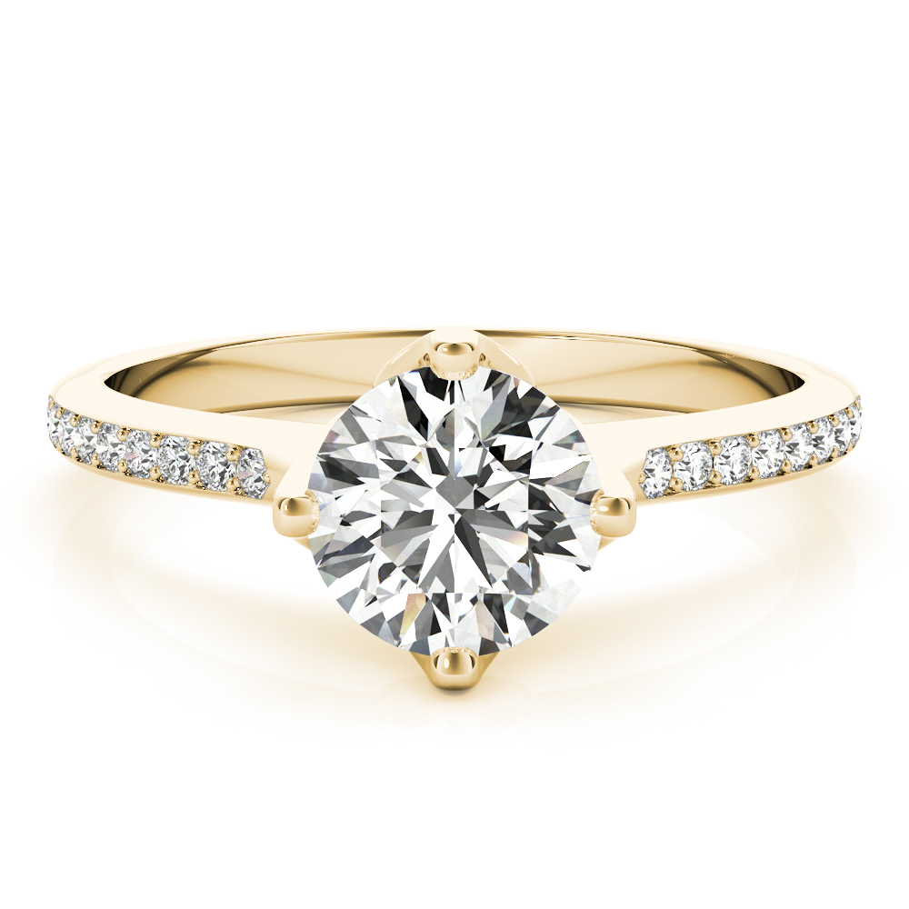 Tulip Diamond Engagement Ring Yellow Gold