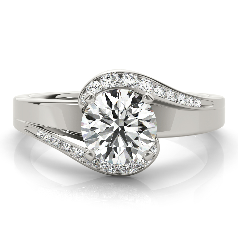 Swirl Graduated Halo Diamond Engagement Ring