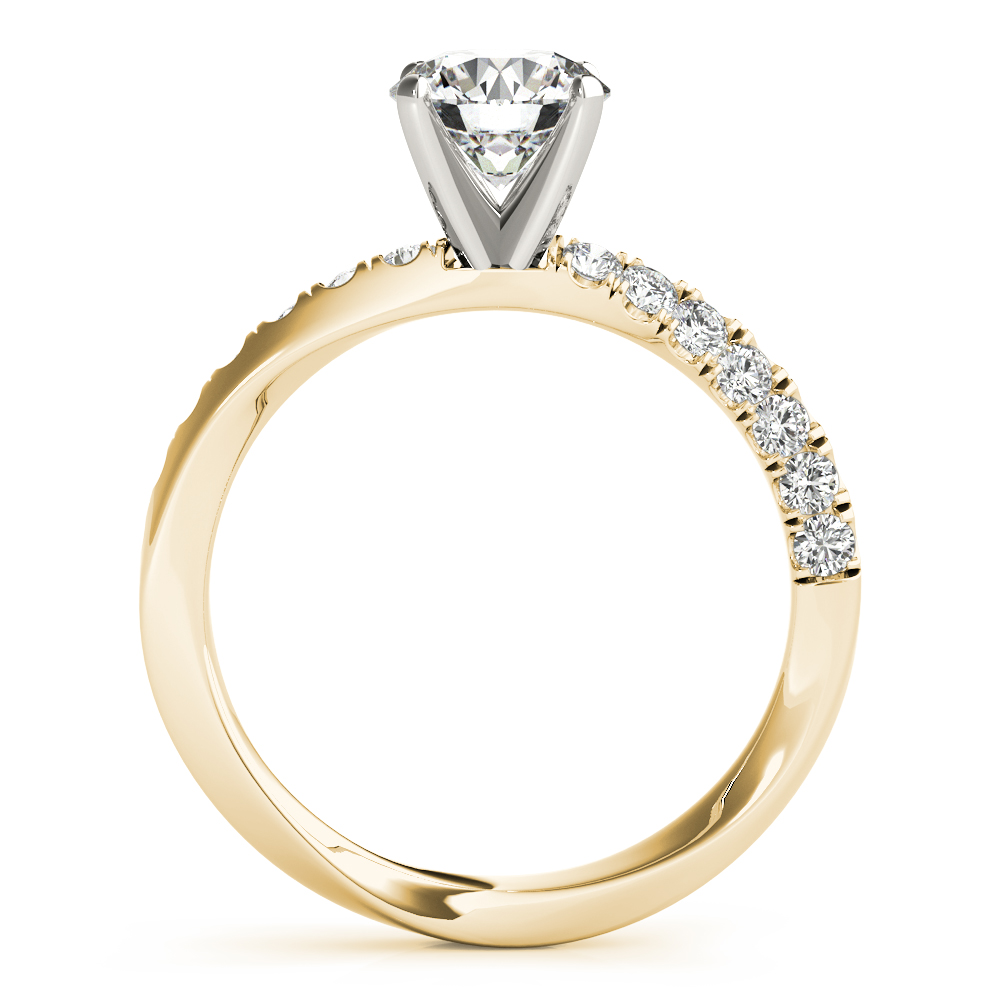 Knife Edge Swirl Engagement Ring Yellow Gold