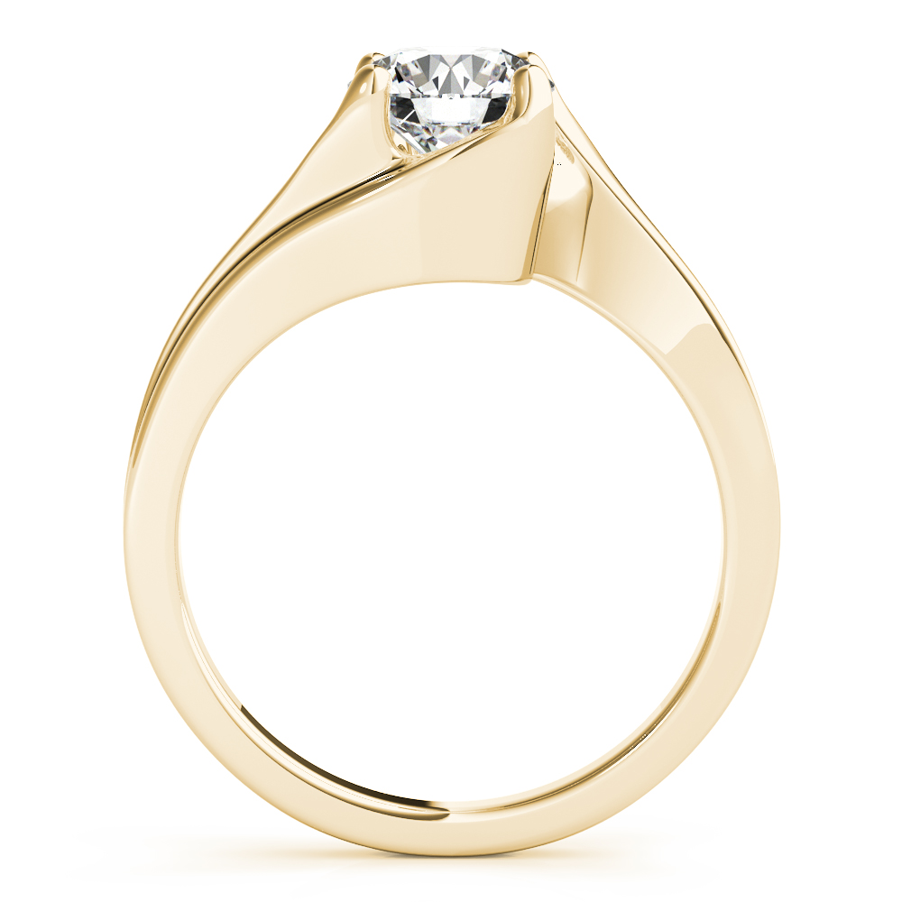 Swirl Solitaire Indented Engagement Ring Yellow Gold