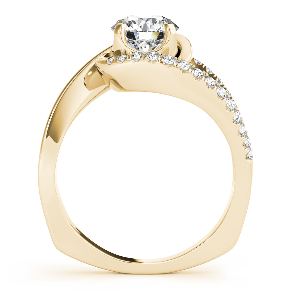 Swirl Split Band Engagement Ring Yellow Gold