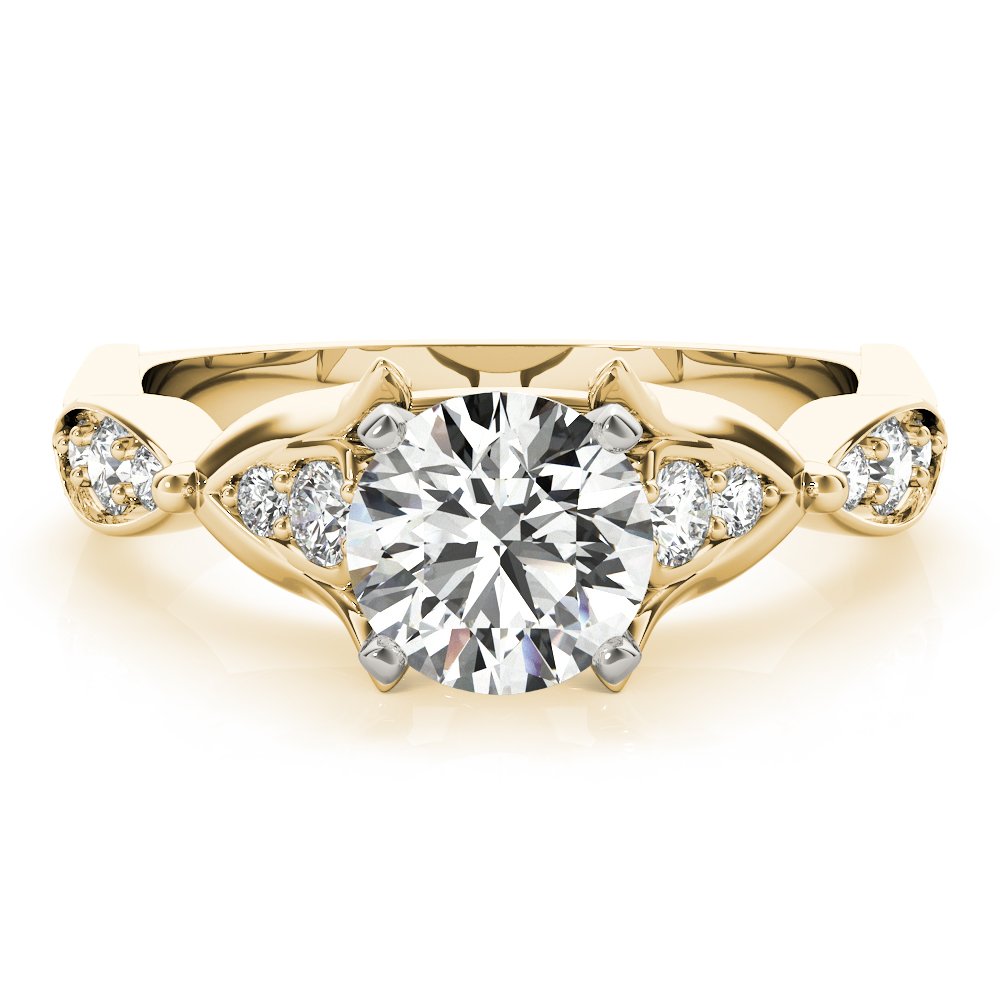 Floral Swing Diamond Engagement Ring Yellow Gold